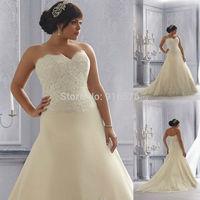 Light Gold Plus Size Lace Sweetheart Neckline Wedding Gown A Line Zipper Closure Dresses 2014