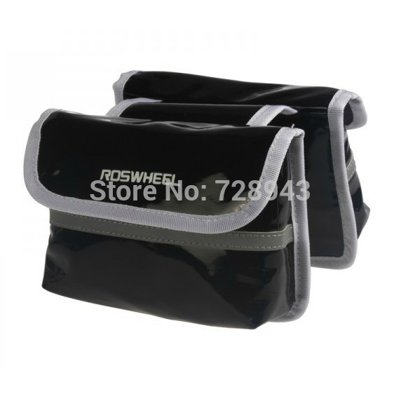 Super Sale!!!Roswheel Cycling Bike Bicycle Pannier Frame PU Leather Front Tube Bag Waterproof Black Free shipping(China (Mainland))