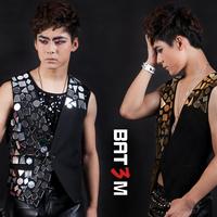 Male dj costumes fashion personality male ds dance vest jacket costume