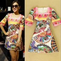 Hot Hot New Autumn Ladies' Square Collar Half Sleeve Wheel Print Jacquard Dress Party Dresses Free Shipping F16303