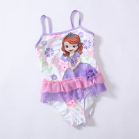 Retail Princess Sofia Character swimsuit baby girls bathers 2014 new 1 piece bikini swimmers children girls swimming suit