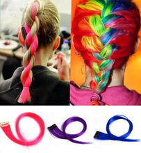 Min.order is $10 (mix order)Fashion Colorful Clip In Women's Supple Makeup Hair Extensions JE242(China (Mainland))