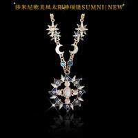 Fashion quality sun god sparkling diamond long design necklace