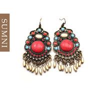 New year gift mini fashion tassel earrings vintage royal ruby earrings bohemia style