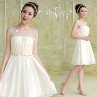 Korean chiffon 2014 new shoulder bridesmaid sisters girlfriends clothes short bridesmaid dresses vestido de festa  410