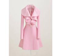 casacos femininos desigual 2014 new winter coat women and long sections woolen coat flounced woemn coat trench coat