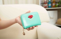 Free Shipping!2015New Fashion Women Leather Short Wallets Candy Colour Lips Female Coin Purse Change Purse