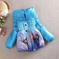 Girls frozen Anna Elsa coat baby winter long sleeve warm jacket children cotton-padded clothes outerwear