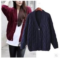 2015 Brand New Korean Fashion Women Autumen & Winter Classic Weave Pattern Single Breast Knitted Cardigan Cardigans Sweater