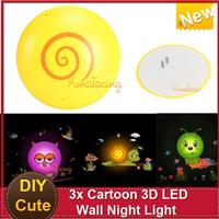New DIY 3D LED Wall Night Light Lamp Poster Kid Bedroom DIY Wall Sticker Decoration Carpenter worm/Owl/Snail