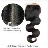 Free Part Brazilian Human Hair Body Wave Silk Base Closures Bleached Knots Unprocessed Hair Rosa Hair Products Free Shipping