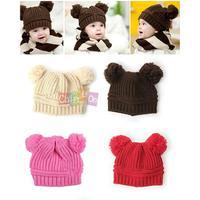 2014 New Pretty Baby Girls Boys Kids Unisex Dual Ball Knit Sweater Cap Winter Warm Hat Promotion