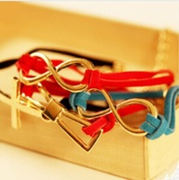 Xmas gifts Stylish leather cord braided cross bowknot lucky 8 bracelets women Multicolor Mix order Brand New 24pcs/lot