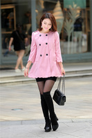 Free shipping,1018 New double breasted large wavy edge women's wool coat