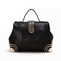 2014 new fashion women handbag punk Brand diamond rivet Handbag Shoulder bag PU leather  freeshipping