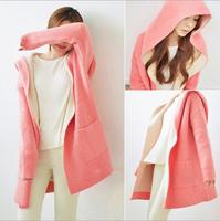 2014 Fashion Winter Wool blend Coat Long Sections Woolen Women Coat Girls Love Cute Pink Color
