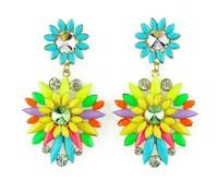 Wholesale Shourouk Earrings Multicolour Resin Beads Flower Shaped Luxury Women Fashion Statement Dangle Earring.
