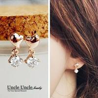 Prefect Match!!! Rose Gold Plated Mini Heart-shape Design Zirconia Lady Drop Earrings (Gold/Silver) Wholesale