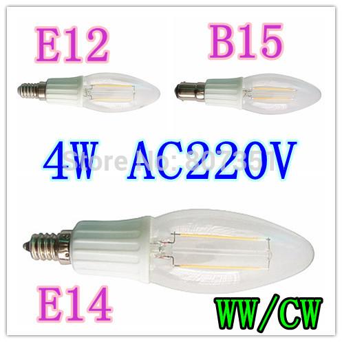 10pcs/lot excellent quality 120 degree LED filament candle lamp E14 E12 B15 4W 220V LED Candle Lighting CW/WW Free shipping(China (Mainland))