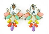 Elegant Resin Beaded Mix Water Drop Shaped Women Fashion Luxury Shourouk Stud Earrings. Wholesale Brincos Jewelry