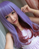 Free shipping High Quality women Sweet style Purple & Red Blending Non-mainstream Wavy wig japanese harajuku anime cosplay wig