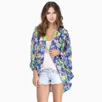 HIGH QUALITY!  print floral kimino loose long sleeve women's chiffon shirt girl fashion protective clothes  XS-XXL, 141246499