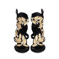 2014 New Gold Leaves Shoes Sandals Summer Women Matal Procrastinate12CM High Heel Shoes Black Fashion Pump Size 40 41