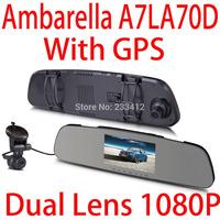 2014 new  original DX1100 ambarella A7 cpu car dvrs rearview mirror GPS + 4.3inch + LDWS + dual camera  FHD1080P@30fps dash cam