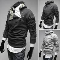 New 2014  5 color oblique zipper metal buckle fleece thickening male with a hood sweatshirt plus size  M -XXXL