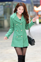 Free shipping ,1017 new British style cultivate one's morality ,dust coat/woollen coat ,Military uniform style coat