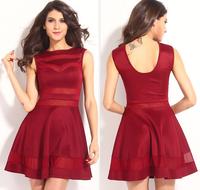 FREE SHIPPING New arrival 2014 translucent sleeveless a-line Dresses slim waist women's one-piece dress 21058