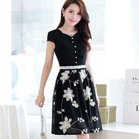 Free Shipping Korean Dresses New 2014 Summer Fashion Cute Women Embroidery Flower And Button Chiffon Short Dress Bulk N96118Wome