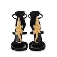 Genuine Leather Gold Crocodile Sandals Brand Summer Sandal Animal Decration Gladiator Shoes Size 34-40