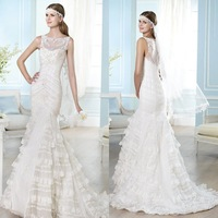 Princess Style Imported Fabric Pure White Lace Beading Crystals Mannequins For Wedding Dress Patterns 2014