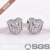 New Arrived European 925 Sterling Silver Clear Pave Triple Heart Beads and Charms  Fit All European Style Bracelet LW384