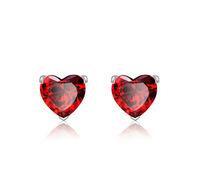 Elegant Women Stud Earrings Heart Red Zircon Pave Free Shipping