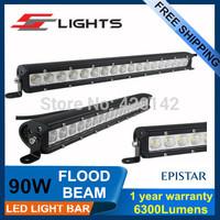 One Pcs 90WLed OffRoad Light Bar Epistar Led Lamp Bar 12v/24V Light Bar Single Row LED FLOOD