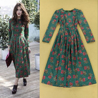 European High Quality Dress French Style Vintage Long Sleeves Mint Green Small Flower Print Mid Calf Dress