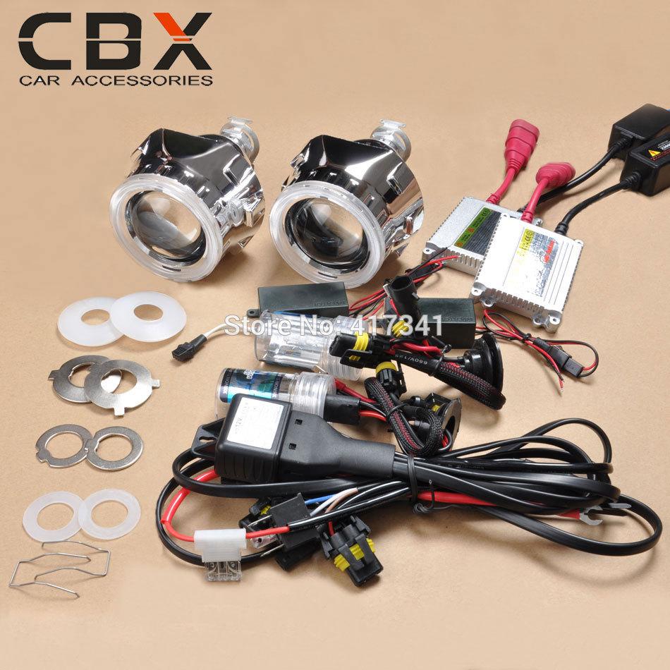 Free Shipping 2.5 inches Mini HID Bi xenon Projector Lens, Xenon Bulb, Ballast CCFL Angel Eye for Car Headlight Retrofit Kit(China (Mainland))