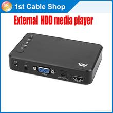Il trasporto libero 1 pz hdmi external hdd media player w/hdmi/vga/av & spdifi uscita audio 1080 p supportato in imballaggio al dettaglio  (China (Mainland))