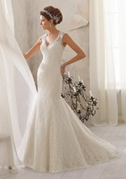 100% high quality!Hot 2014 new white Romantic mermaid cap sleeve v-neck beaded and appliques lace vintage wedding dress