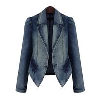 XL-5XL Autumn Women Jackets Classic Blue Denim Coats Casual Vintage  Fashion Slim Good Quality Femininas Casacos Plus Size 5820