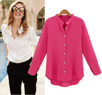 Blusas  Femininas Fashion Colorful Stand Collar Loose Linen Cardigan Office Ladies Elegant Formal Sheer Blouses And Shirts 3333