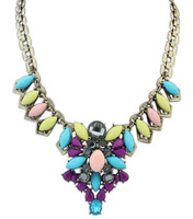 2014 New Fashion Necklaces For Women Bohemia Rhinestone Acrylic Beaded Jewelry Pendants Necklaces Vintage Chunky Chain DFX-544