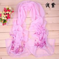 2014 Free Shipping New Selling Hot women fashion women long About 175cm ultralight shawl printed cape silk chiffon tippet