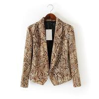 Brand quality 2014 autumn new fashion women blazer,short design Serpentine print slim all-match cardigans blazer feminino coat