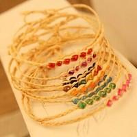 Xmas gifts Vintage raffia 6 beads handmade braided Bracelet lucky grass Wishing rope bracelets Mix color New 36pcs/lot
