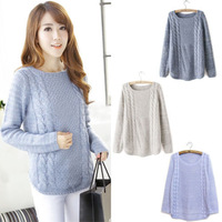 Sexy Lady Casual Weaving Pullover Crewneck Sweater Cardigan Knitting Hollow Tops