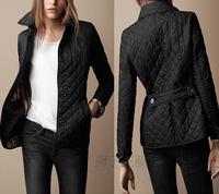 Women Fashion Brand British Short Cotton Padded Jacket/Designer Plaid Collar Casual Coats Elegant Outerwear #B