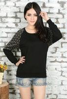 Free Shipping Women's Autumn Clothings Fashion Skull Lace Stitching Long Sleeve T-shirt Ladies Black Cotton T-shirt Tops Tees